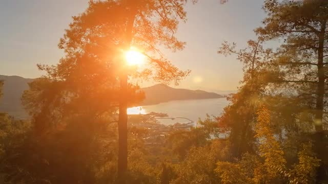 Sunset Over Mediterranean Island: Stock Video