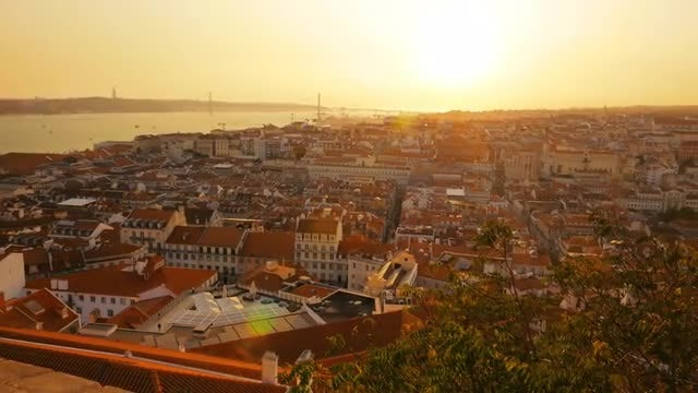 Sweeping View Of Lisbon: Stock Video
