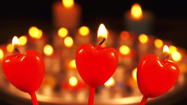 Heart Candles: Stock Video