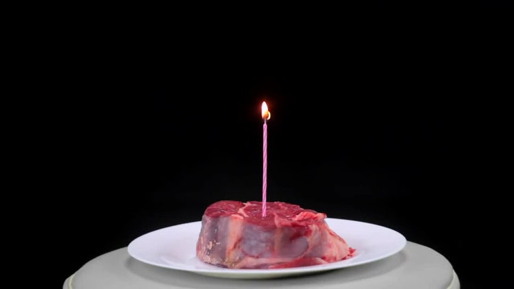 The Steak With Candle: Stock Video