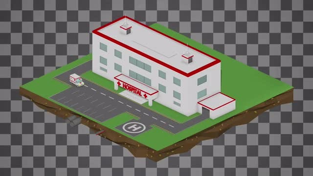 Isometric Hospital Cartoon Loop: Stock Motion Graphics