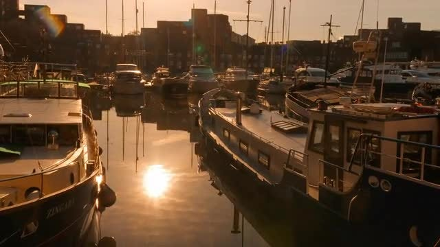 Amazing Marina During Sunrise: Stock Video
