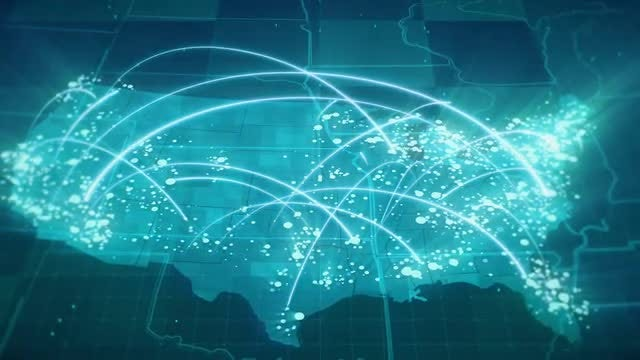 Globalization USA Map Animation: Stock Motion Graphics