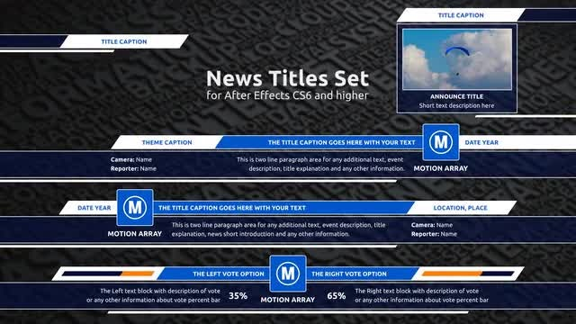 News Titles Set (Lower Thirds): After Effects Templates