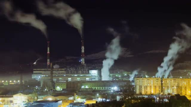 Power Plants At Night Stock Video Motion Array