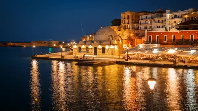 Night Timelapse Of Chania, Greece: Stock Video