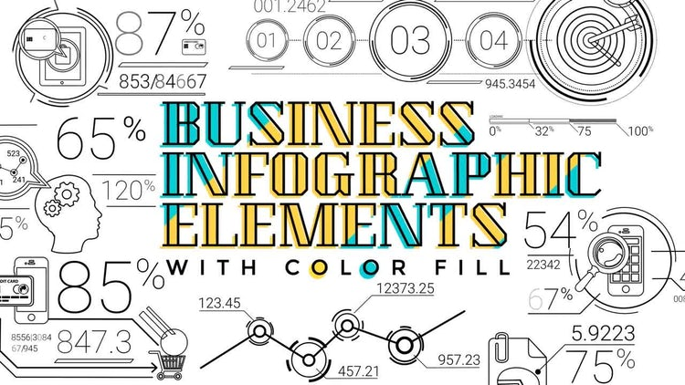 30 Line Infographic Elements: Stock Motion Graphics