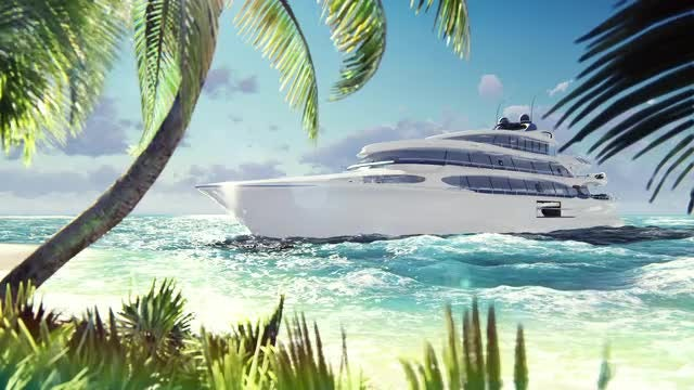 White, Modern Luxury Yacht: Stock Motion Graphics
