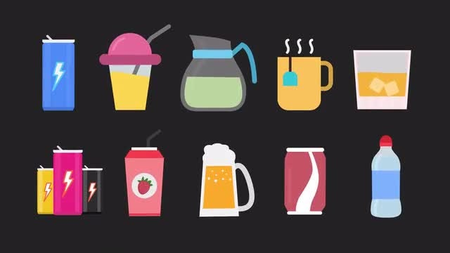 Drinks Animated Icons: Stock Motion Graphics