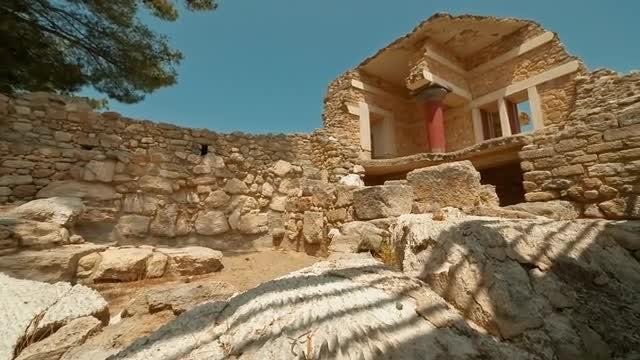 Ruins Of Minoan Temple: Stock Video
