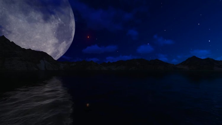 Big Moon Over Night Sea: Stock Motion Graphics