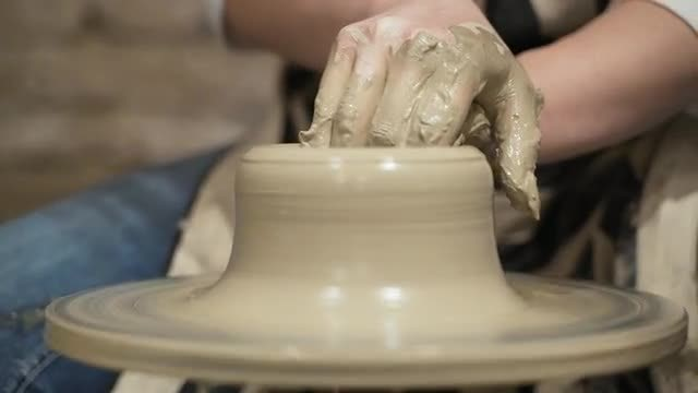 Moulding A Clay Pot: Stock Video