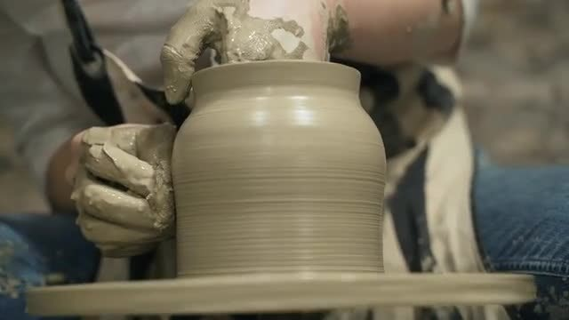 Potter Making Clay Jar: Stock Video