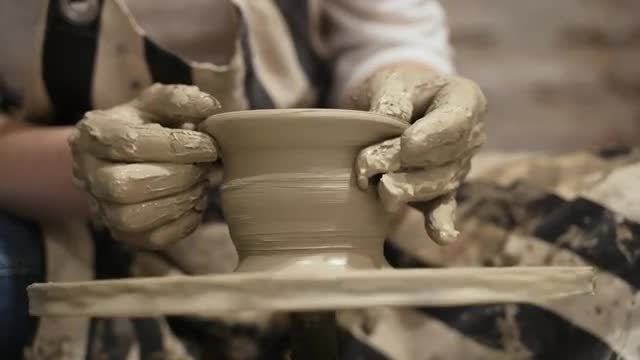 Potter Making Clay Vase: Stock Video