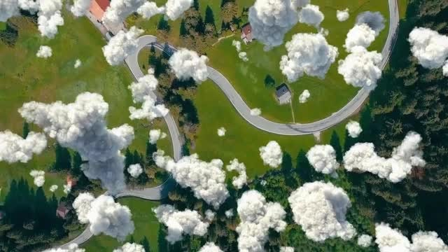 Birds Eye View Cloudscape Overlay: Stock Motion Graphics