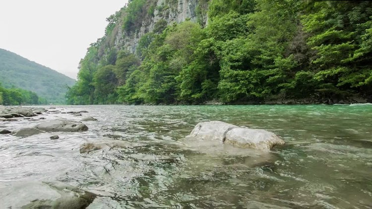 Mountain River With Stones: Stock Video