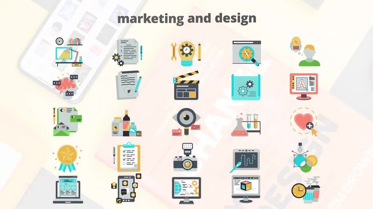 Marketing And Design – Flat Animation Icons: After Effects Templates