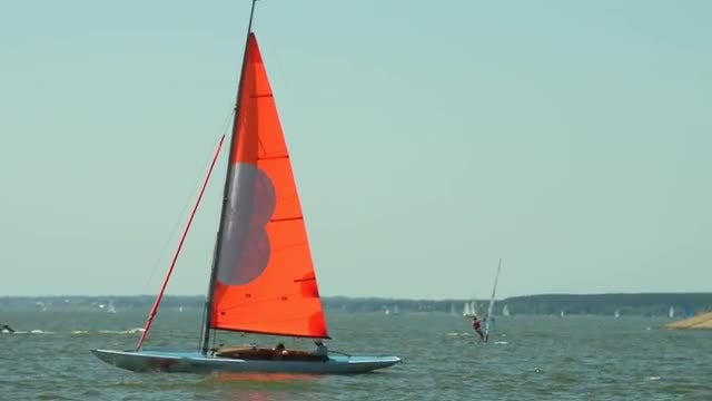 Sailboat And Windsurfers: Stock Video
