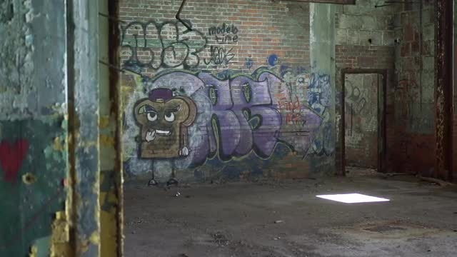 Graffiti In Abandoned House: Stock Video