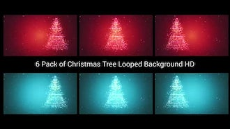 6 Pack of Christmas Tree Looped Background HD: Motion Graphics