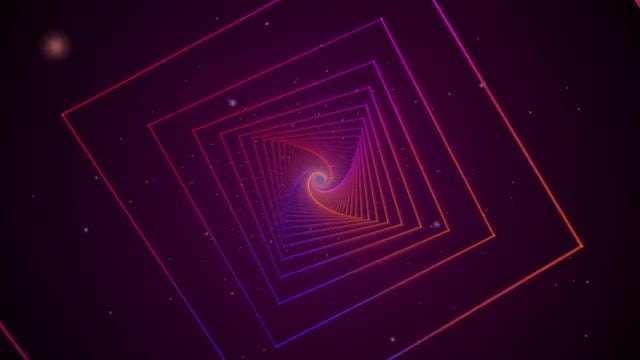 Neon Swirling Squares: Stock Motion Graphics