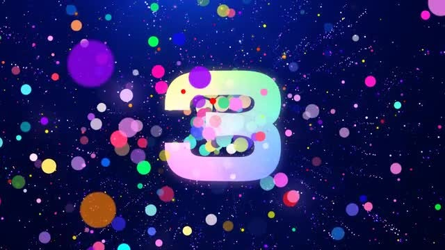 Countdown from 10 to 0 with colored particles.: Stock Motion Graphics