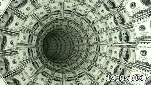 3D 100 Dollar Bills Tunnel: Stock Motion Graphics