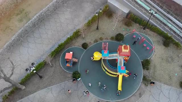Aerial View Of Playground: Stock Video