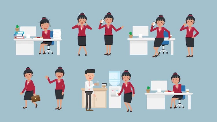 Asian Corporate Woman Pack #2: Stock Motion Graphics