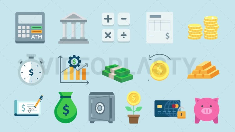 Finance Icons Pack: Stock Motion Graphics