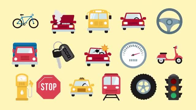Auto And Road Icons Pack: Stock Motion Graphics
