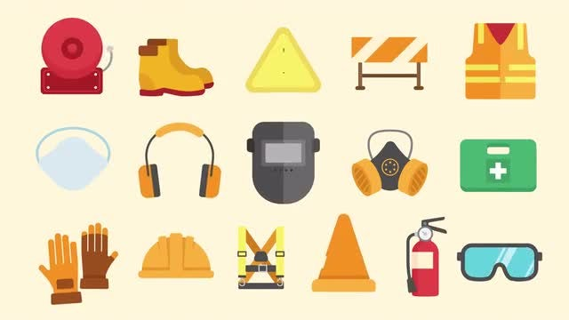 Safety Equipment Icons Pack: Stock Motion Graphics