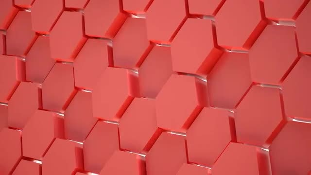 Red Hexagon Wall Animation: Stock Motion Graphics