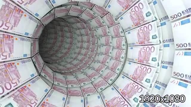 500 Euro Bills Tunnel: Stock Motion Graphics