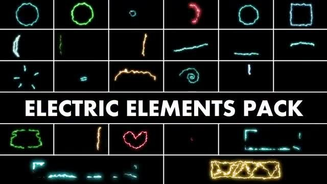 Electric Elements With Glow: Stock Motion Graphics
