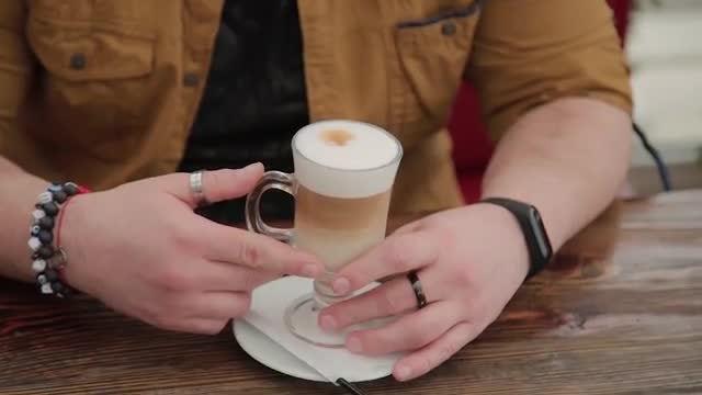 Drinking Latte: Stock Video