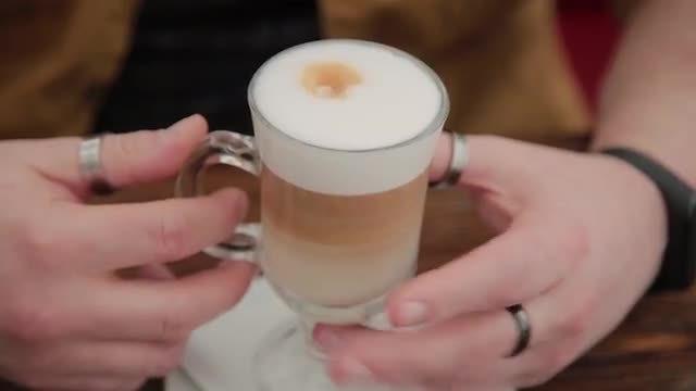 Man Drinking Latte: Stock Video