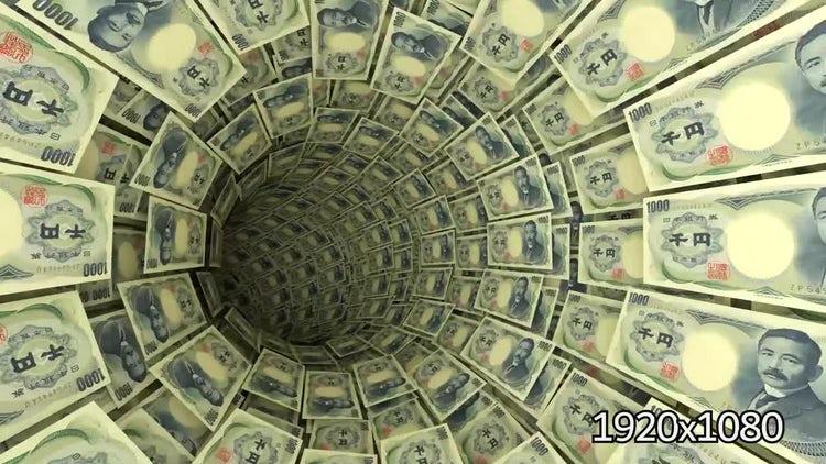 3D 1000 Yen Bills Tunnel: Stock Motion Graphics