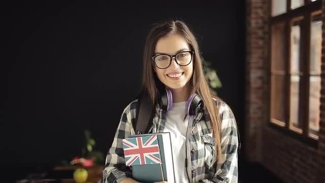 Portrait Of Student Girl: Stock Video