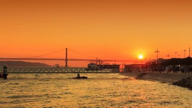 Amazing Lisbon Sunset: Stock Video