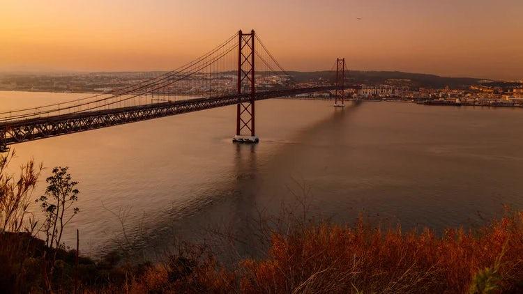 Lisbon Red Bridge By Dusk: Stock Video