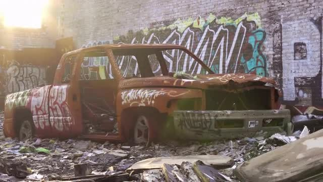 Abandoned Truck With Graffiti: Stock Video