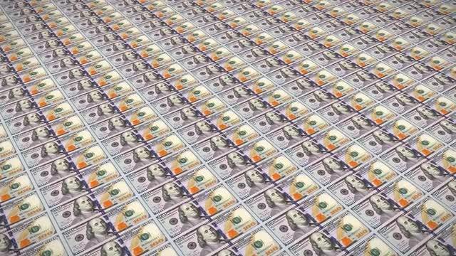100 Dollar Bills Loop v3 : Stock Motion Graphics