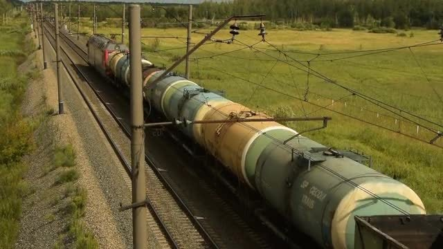 Traveling Cargo Train: Stock Video