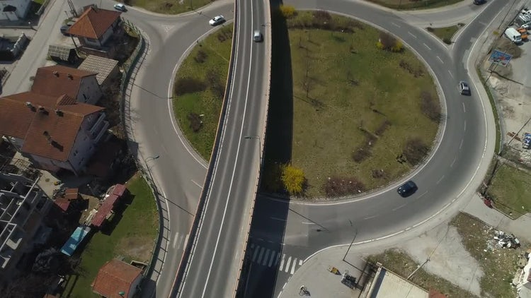 Aerial View Of Roundabout: Stock Video