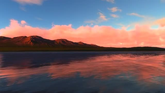 Sunset At Lake And Red Sunlight on Cliffs: Stock Motion Graphics