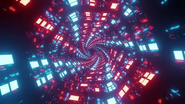 Sci-Fi Neon Tunnel Background: Stock Motion Graphics