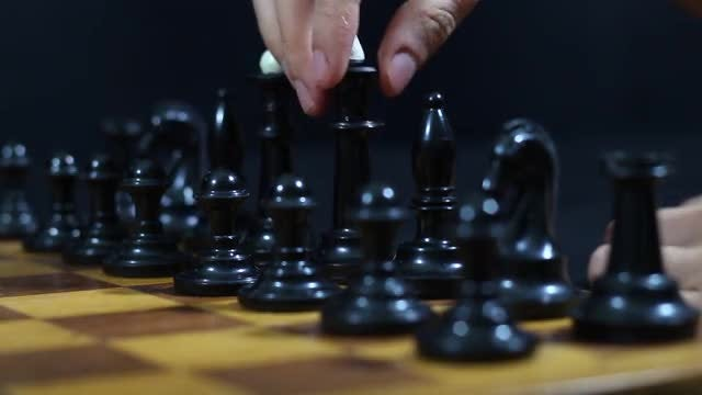 Black Chess Pieces: Stock Video