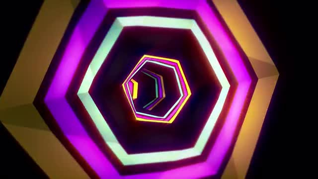 Intense Hexa VJ Tunnel Background: Stock Motion Graphics