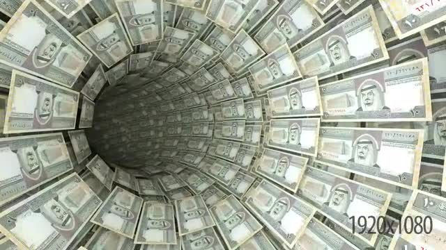 3D Saudi Arabia Riyal Tunnel: Stock Motion Graphics